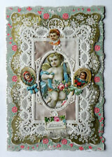 Victorian Valentine Card Whitney 1880's Embossed Layered Lace & Chromo Cupid