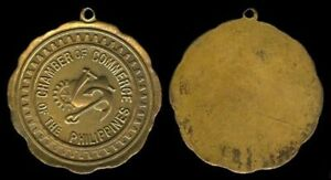 1950s Philippines CHAMBER OF COMMERCE Medal looped  Bronze / gold finish