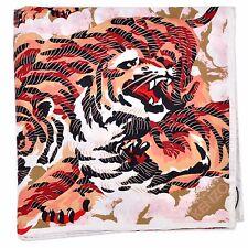 "100% New - Kenzo Silk Scarf Pink Tigers Print Square 90x90cm /36"" GENUINE 160390"