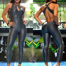 Colombian Brazilian Women's Jumpsuit Enterizo Leather Like S M Gym Workout Yoga