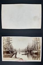 France, Le Havre, Le bassin du Commerce Vintage cdv albumen print, CDV, tirage