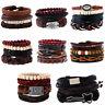 Fashion Men Women Handmade Genuine Leather Bracelet Braided Wristband Bangle