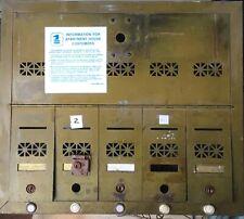 Antique vintage brass metal apartment mailbox 5 door