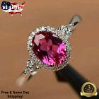 Gorgeous Oval Cut Ruby 925 Silver Jewelry Women Wedding Rings Size 6-10