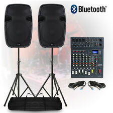 PA Speaker System 8-Ch Bluetooth DJ Mixer 1600W Live Sound Stage with Stands