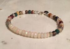 "Faceted Ethiopian Opal Bead 7.5"" Bracelet And Semi Precious Gemstone Beads MO-7"