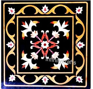 Beautiful Design Inlaid with Gemstones Coffee Table Black End Table 18 Inches