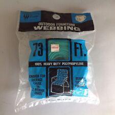 "Vtg Wellington Outdoor Furniture Webbing 73 Ft X 2 ""1/4"" ~TURQUOISE~GREEN~"