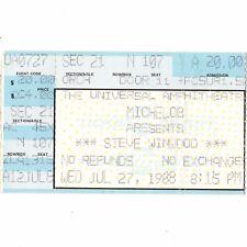 Steve Winwood Concert Ticket Stub Los Angeles Ca 7/27/88 Universal Traffic Rare