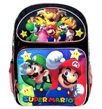"""Super Mario Bros Large Backpack School Bag 16"""" Licensed by Nintendo Luigi Newest"""