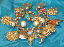 Vintage LOADED CHARM BRACELET w SEA Ocean FISH Starfish SHELLS Faux Coral Beads