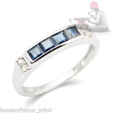 Natural Blue Sapphire Single Cut Diamond Sterling Silver Eternity Band Ring AU
