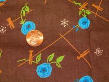 "2 Yards 36"" wide Vintage 100% COTTON FABRIC BROWN Blue CLOTHESPINS Washline"
