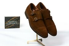 George Cleverley 'Thomas' Men's Polo Tan Brown Suede Shoes Monk Strap £525 11 UK