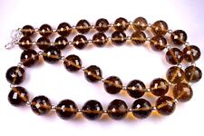 N-0035 Honey Quartz Natural Gemstone Round Faceted Beads 9x12mm 364Ct Necklace $