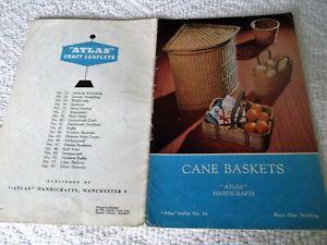 """ORIGINAL, VINTAGE, ATLAS HANDICRAFTS LEAFLET, No. 53, """"CANE BASKETS"""""""