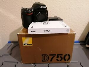 Nikon D750 Digital SLR DSLR Camera, Body Only With Original Box, Charger, Manual