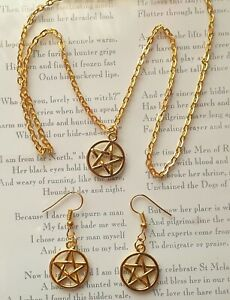 Gold Plated Pentagram Pendant Necklace Or Earrings-Pagan Wiccan Gift Bagged