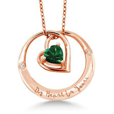"""925 Rose Gold Plated Silver """"My Heart Is Yours"""" Nano Emerald and Diamond Pendant"""