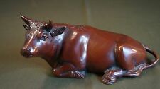 Very Fine Japanese Meiji Period Bronze Reclining Cow Statue Figure Signed