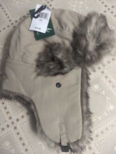 WOOLRICH Bomber/Aviator/Trapper Hat TAN Nylon Faux Fur Lined L/XL $45 NEW