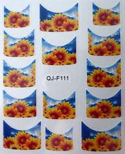 Accessoire ongles : nail art - Stickers décalcomanie - motifs fleurs tournesol