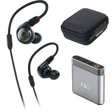 Audio-Technica In-Ear Monitor Headphones + FiiO Portable Headphone Amp (Silver)