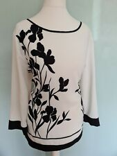 Betty Jackson Black Tunic Top Size 14 White With Black Flowers And Trim VGC