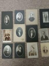 Lot of 12 Antique cabinet photos, MEN, Suits, Beards, Mustaches, Neck wear.