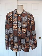 Silk Land Woman 100% Pure Silk Multi Animal Print Acetate Lined Jacket - 2X