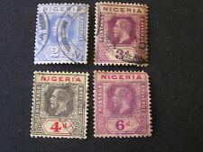 *NIGERIA, SCOTT # 4-7(4), 21/2p+3p+4p+6p. VALUES KGV 1914-27 DIE I ISSUE USED