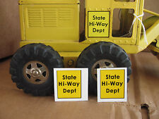 Decals for State Hi-Way Dept, Tonka Toy Grader, Crane, Truck, Hi way toy etc.,