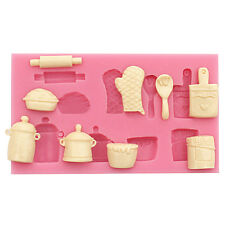 New silicone fondant Mold Rolling Pin Pot Glove Silicone Cake Baking Mould