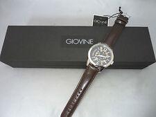 Giovine Men's Silver Tone Quartz Italian Watch w Brown Leather Band. Italy