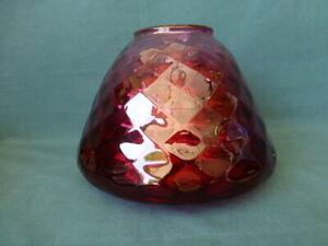 Antique Art Glass Diamond Optic Cranberry Glass Lamp Shade