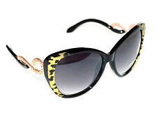 OCCHIALI da sole donna neri oro maculati lenti ovali serpente leopardati F10