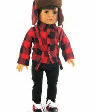 "Red n Black Plaid Shirt Hat Pants Set for 18"" American Girl or BOY Doll Clothes"