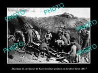OLD LARGE HISTORIC PHOTO ROMANIA WWI GERMAN TROOPS WITH MORSER HOWITZER GUN 1917