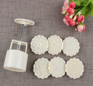 NEW 6 Rose Flower Stamps Moon Cake Decor Mould Round Mooncake Mold DIY Tool