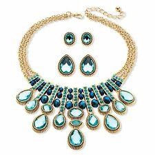 PalmBeach Jewelry Aquamarine and Blue Crystal 3-Piece Necklace and Earrings Set