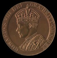 SCARCE 1937 CORONATION of KING EDWARD VIII LARGE 36mm BRONZED BRASS MEDAL
