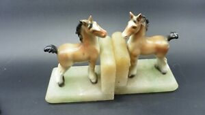 """Antique onyx bookends """"Little Pony"""""""