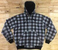 Berne Hoodie Sweatshirt Jacket Hooded Large 44-46 Full Zip Plaid Fleece Lined