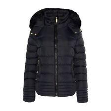New Womens Jacket Quilted Padded Ski Puffa Fashion Fur Hood Zip Warm Coat Top