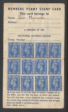 CINDERELLAS:GB NATIONAL SAVINGS MOVEMENT,  MEMBERS PENNY STAMP CARD.