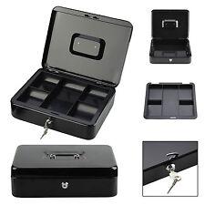 "12"" Petty Cash Box Metal Money Tray Holder Deposit Security Steel Safe Lock Keys"