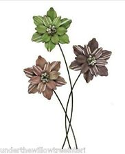 Large Metal Flowers Wall Art 3 Stem Floral Picture Hanging 95 cm high