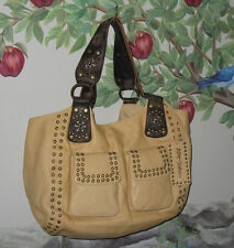 New BETSEY JOHNSON Large Camel Leather w Crystals, Rivets & Studs Shoulder Bag