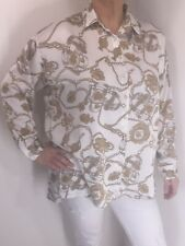 Designer Inspired Blouse Chain Print White Gold Fits 16-22 Silky NEW