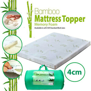4CM Memory Foam Mattress Topper Bamboo Orthopedic Thick Zipped Cover Double King